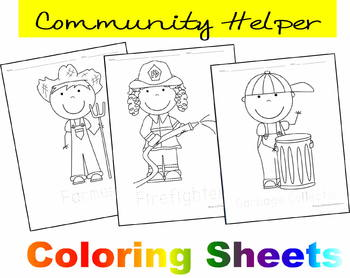 Community Helper Coloring Sheets Preschool Kindergarten By Beth