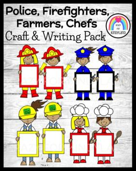 Community Helpers Craft Bundle for Kinder: Firefighters, Police, Farmers, Chefs