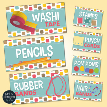 Teacher Toolbox Drawer Labels - Retro Design Style
