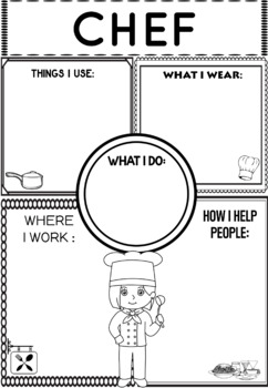 Community Helper Graphic Organizers Worksheets Chef By