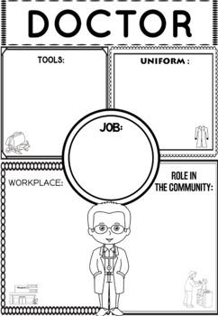 Community Helper Graphic Organizers / Worksheets: Doctor