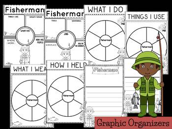 Community Helper Graphic Organizers / Worksheets: Fisherman