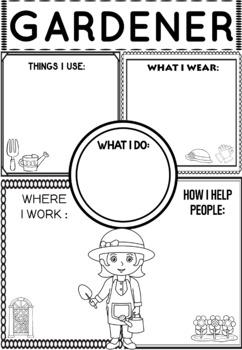 Community Helper Graphic Organizers / Worksheets: Gardener
