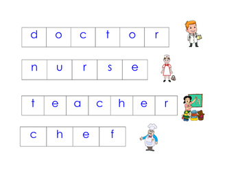 Community Helper Magnetic Tile Vocabulary Cards