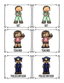 Community Helper Memory Game for Preschool, Prek, and Kindergarten