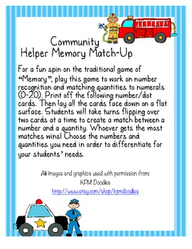 Community Helper Memory Match Up