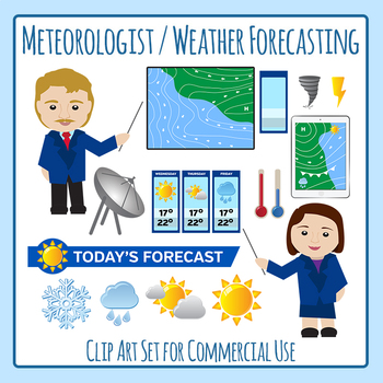 Community Helper Meteorologist / Weather Reporter Clip Art for Commercial Use