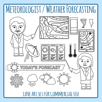Community Helper Meteorologist / Weather Reporter Line Art for Commercial Use