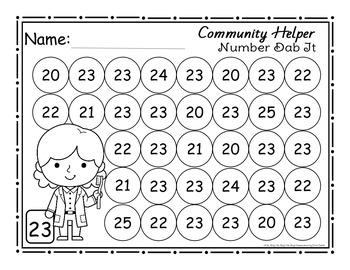 Community Helper Number (0-25) Dab It