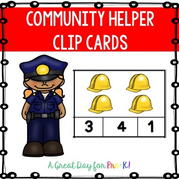 Community Helper Number Clip Cards for Preschool, Prek, and Kindergarten