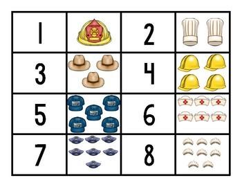 Community Helper Number Matching Game for Preschool, Prek, and Kindergarten