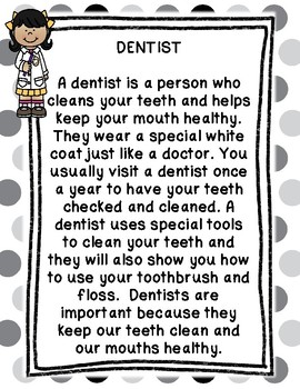 Community Helper Packet - Dentist