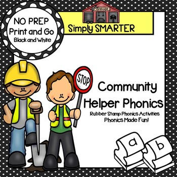 NO PREP Community Helper Themed Phonics Rubber Stamping Activities