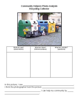 Community Helper Photo Analysis- Recycling Collector