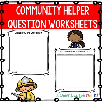Community Helper Question Worksheets