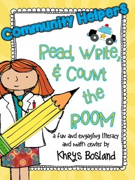 Community Helper Read, Write, and Count the Room {Literacy
