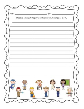 Community Helper Research and Writing Activity- Great Labor Day Activity
