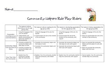 Community Helper Role Play Rubric