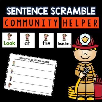 Community Helper Sentence Scramble DIFFERENTIATED