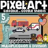Community Helper & Service Day Digital Pixel Art Magic Reveal MULTIPLICATION