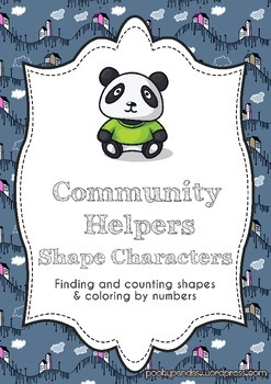 Community Helper Shape Characters (find and count the shapes & color by number)