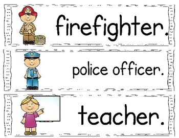 Community Helper Sight Word sentences for the Pocket chart