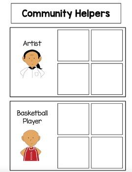 Community Helper Sorting File Folder Activities for Preschool and Kindergarten