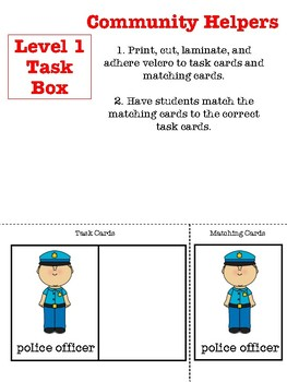 Community Helper Task Boxes