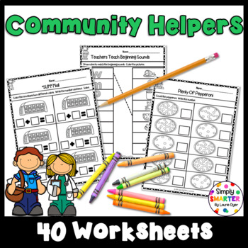 Community Helper Themed Kindergarten Math And Literacy Worksheets