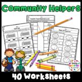 Community Helper Themed Kindergarten Math and Literacy Wor