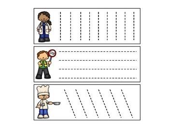 Community Helper Tracing/Cutting Cards for Preschool, Prek, and Kindergarten