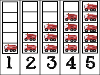 Community Helper Vehicles Counting Frames (#'s 1 - 5)