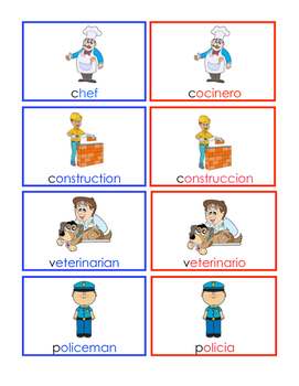 Community Helper Vocabulary Cards Dual Language