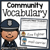 Community Helper Vocabulary Cards and Worksheets