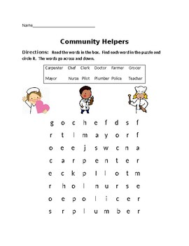 Community Helper Word Search