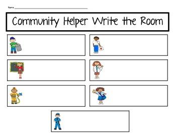 Community Helper Write the Room Literacy Center