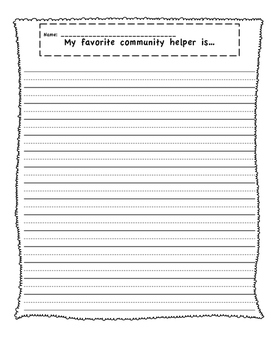 Community Helper Writing Prompt
