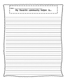 Community Helper Writing Prompt