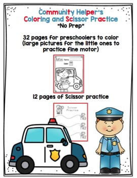 "Community Helper's Coloring and Scissor Practice ""No Prep"""