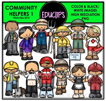 Community Helpers 1 Clip Art Bundle {Educlips Clipart}