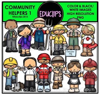 Community Helpers 1 Clip Art Bundle {Educlips Clipart}