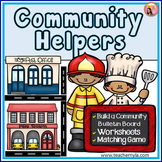 Community Helpers memory game, worksheets, and bulletin board set