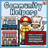 Community Helpers memory game, worksheets, and bulletin board set