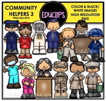 Community Helpers 3 Clip Art Bundle {Educlips Clipart}
