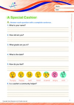 Community Helpers - A Special Cashier (with 'Triple-Track Writing Lines')