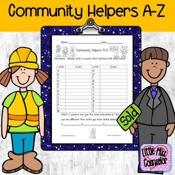 Community Helpers A-Z worksheet