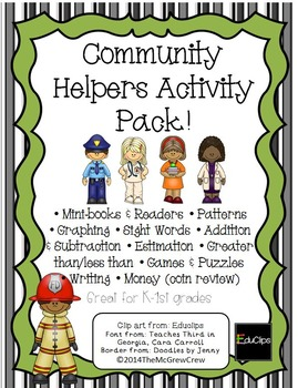 Community Helpers Activity Pack Reading Writing Math Set