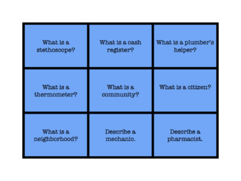 Community Helpers Articulation, Grammar, and Vocabulary Game