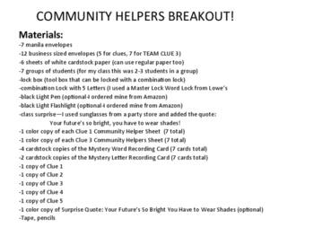 Community Helpers BREAKOUT!