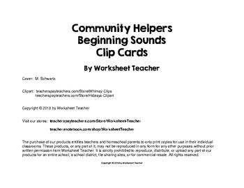 Community Helpers Beginning Sounds Preschool Clip Cards